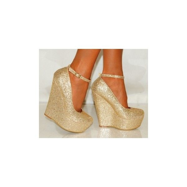 Ladies Gold Shimmer Glitter Wedges Platforms High Heels ($35) ❤ liked on Polyvore featuring shoes, heels, gold wedge shoes, high heel wedge shoes, yellow gold shoes, high heel platform shoes and high heeled footwear