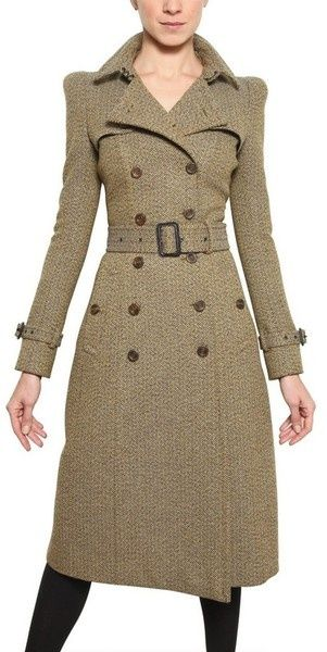 Burberry Tweed Herringbone Tweed Coat - Click for More...