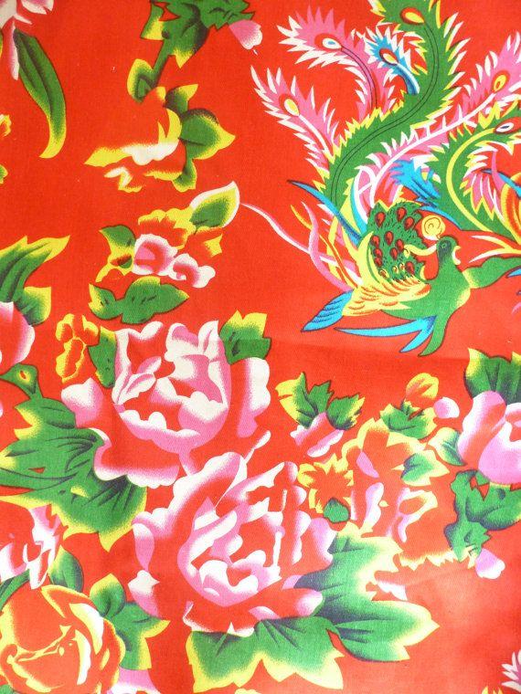 coupon tissus pivoine Chinois Traditionnel Rouge par HappySouris08, €6.80
