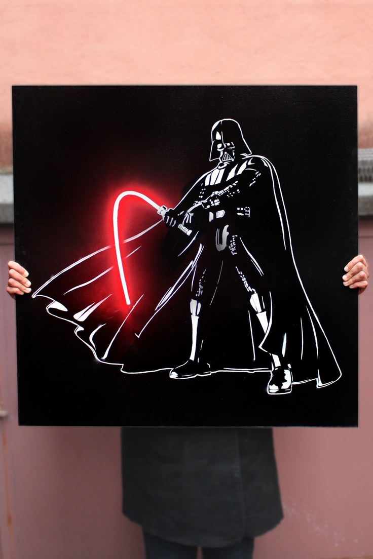 Darth Vader OFF by #ellastreetart on wood board