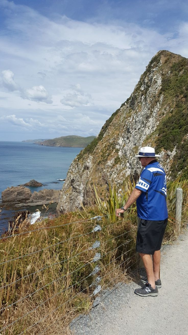 Ken admiring the view  on the walkway to Nugget Point Catlins South Island NZ