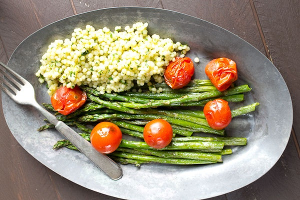 Roasted Asparagus and Tomatoes with Herbed Couscous