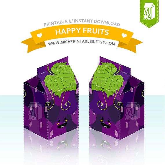 Happy Fruits Printable Party Favor Treat Gift by MicaPrintables #purple #grapes #cute #fruits
