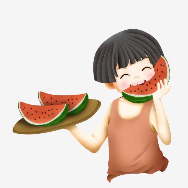 صبي بطيخ رسوم متحركة الصيف الصحة عنصر التصميم Cartoon Boy Eating Watermelon Watermelon