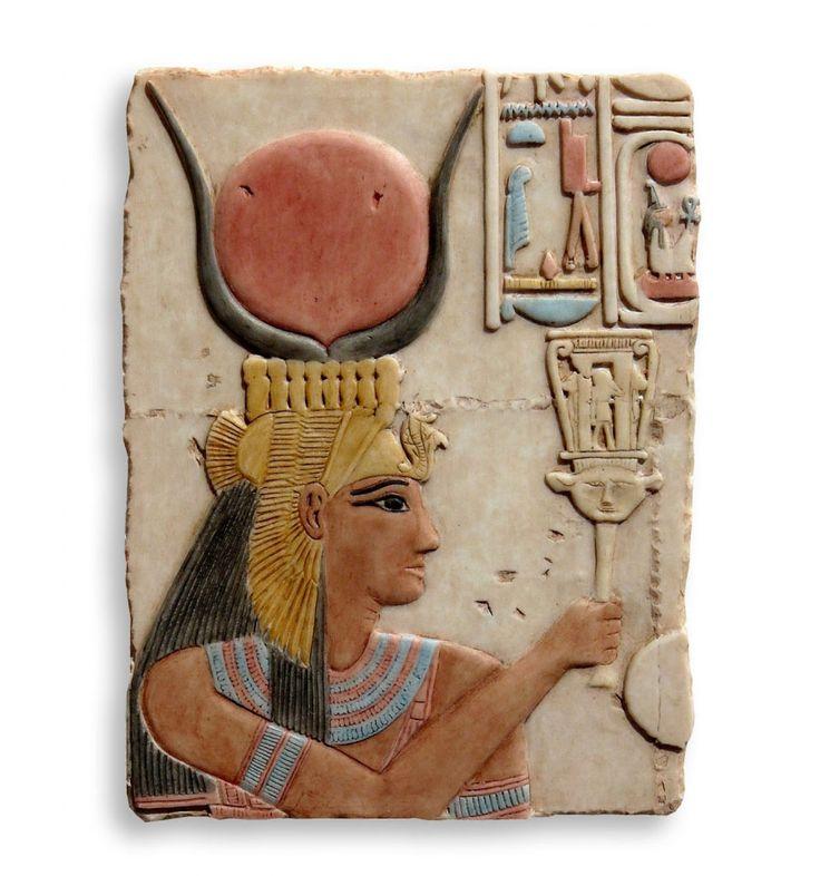 Relieve de Diosa Hathor | Relieve egipcio policromado | Figura resina