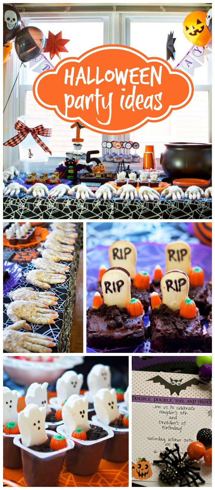 Halloween birthday party decorations - A Halloween Double Birthday Party With Fun Treats And Decorations See More Party Planning Ideas