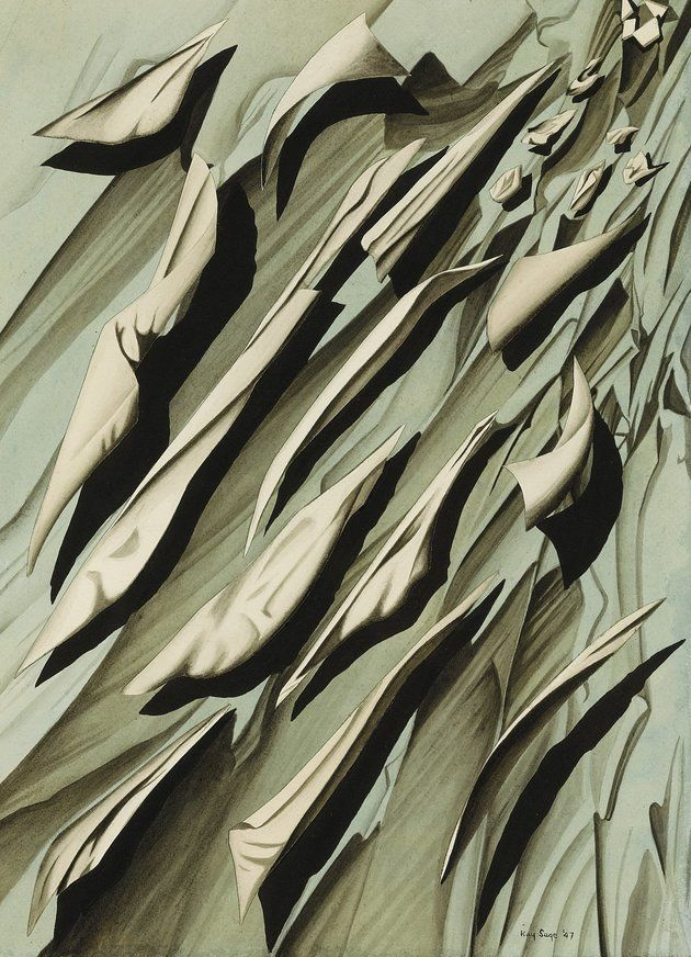"Kay Sage (1898-1963). The artist stopped making work following her husband Tanguy's death, in part due to cataracts that affected her vision, and committed suicide in 1963. Her suicide note read: ""The first painting by Yves that I saw, before I knew him, was called 'I'm Waiting for You.' I've come. Now he's waiting for me again -- I'm on my way."""