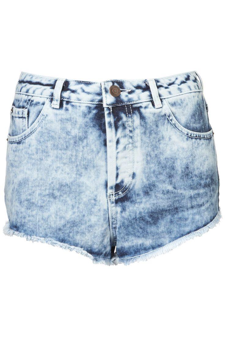light blue acid wash denim hotpants short TOPSHOP MOTO