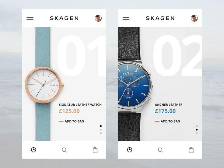 Skagen App UI challenge for myself.