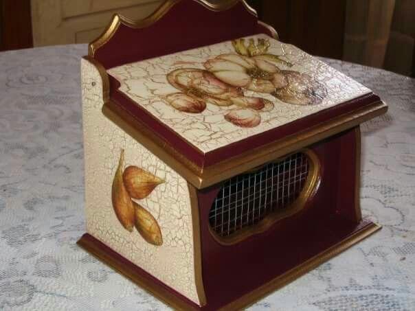 Caja Porta ajos,,,,Decoupage