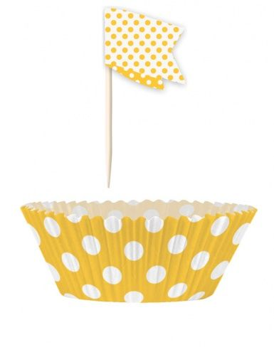 24 Moules à cupcakes et pics de décoration à pois jaunes, décoration anniversaire et fêtes à thème sur Vegaoo Party