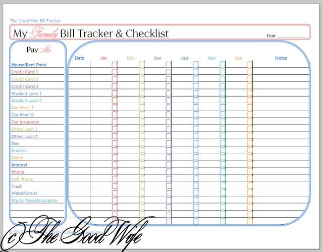 The Good Wife: New Budget Worksheet - Bill Tracker and Checklist