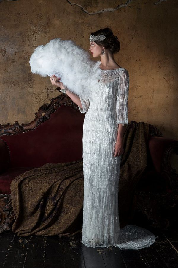 Looking for something a little more non-traditional? Flapper wedding dress style.