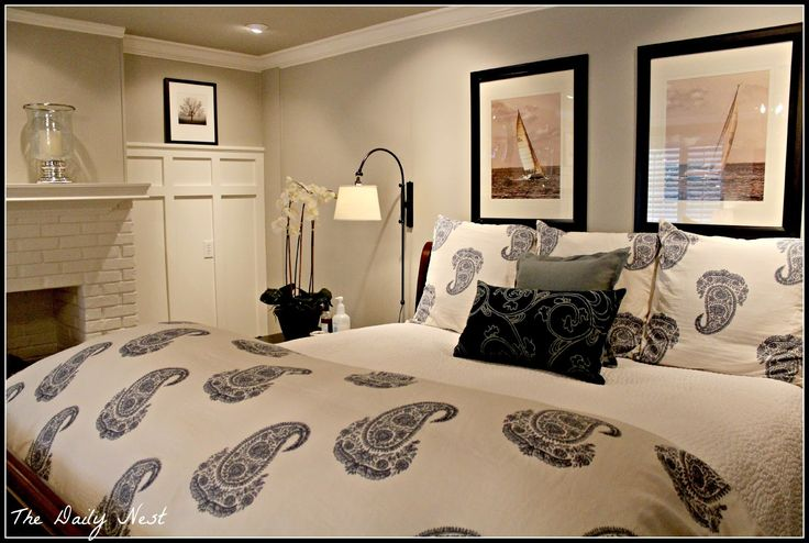 Revere Pewter on walls, White Dove on woodwork. Savvy Southern Style: My Favorite Room....The Daily Nest  Bedroom color
