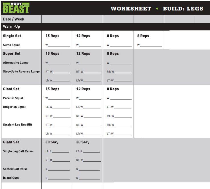bu003eBody Beastu003c\/bu003e Bulk Legs Workout Sheet workout Pinterest - beast workout sheet