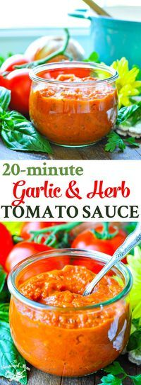 20-Minute Garlic and Herb Tomato Sauce! Homemade Tomato Sauce with Fresh Tomatoes | Homemade Tomato Sauce with Canned Tomatoes | Marinara Sauce Homemade | Healthy Recipes | Tomato Recipes | Gluten Free | Real Food | Clean Eating | Canning | Preserving | S