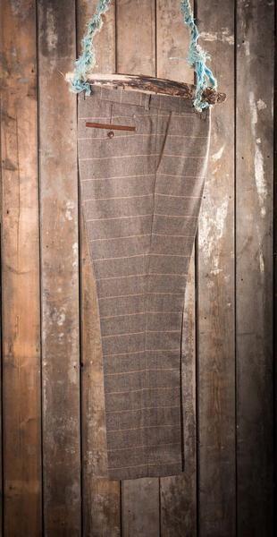 Marc Darcy DX7 Tweed Herringbone Check Suit Trousers - Tan - Master Debonair - 1