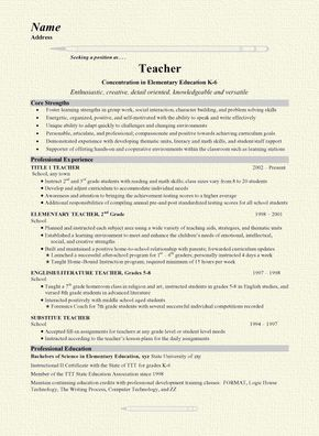 "This page includes a Teacher Resume for a teaching professional with experience as a Grade School Teacher / English Teacher. This document serves as a good representation of a resume for most general teaching positions.  A job title of ""Teacher"" heads the resume with a headline statement focusing"