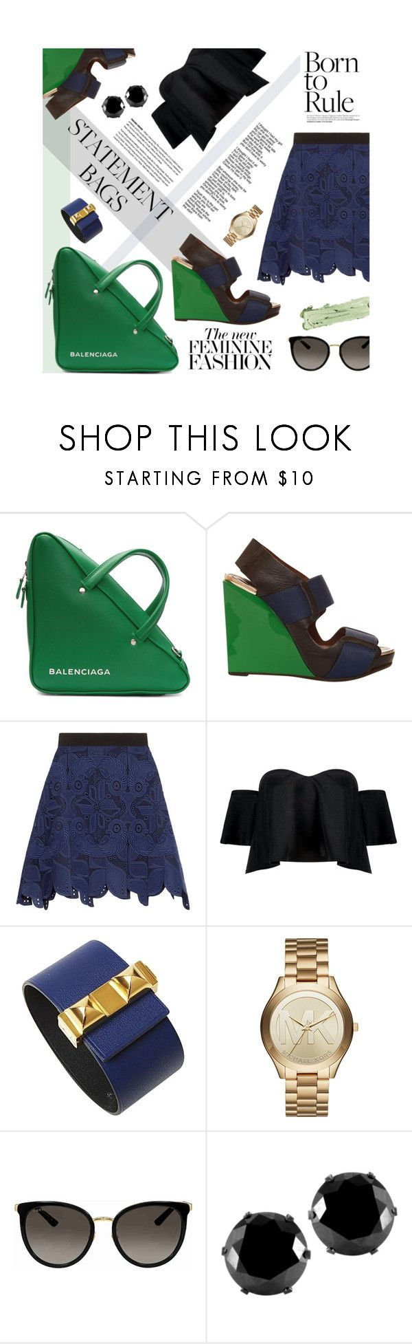"""Statement Bags"" by ellergy ❤ liked on Polyvore featuring Balenciaga, Marni, Antonio Berardi, Boohoo, Versace, Hermès, Michael Kors, Gucci, West Coast Jewelry and By Terry"