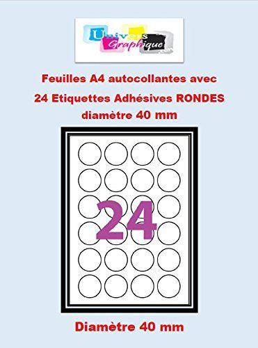 Etiquettes Adhésives – 2400 étiquettes rondes – cercle de diametre 40 mm – Blanc Mat – pour imprimantes Laser et Jet d'encre – 100 Feuilles…