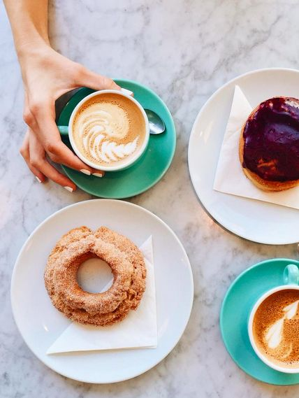 Local city guide—Vancouver.  Kitsilano: 49th Parallel Coffee.  (What we love: Lucky Donuts and Lattes, plus a heated outdoor patio right on W 4th, with the best people watching).