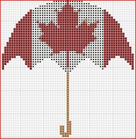 freebie ~ Canadian Umbrella cross stitch pattern