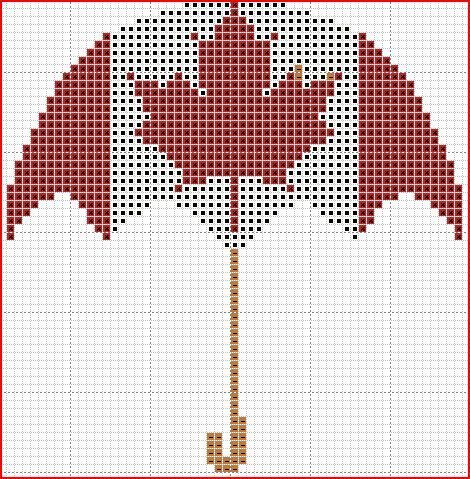 freebie ~ Canadian Umbrella cross stitch pattern