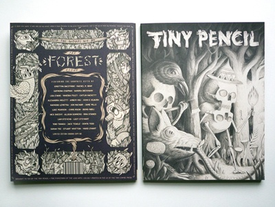 Tiny Pencil, a bi-annual artzine devoted to graphite. The first issue features illustrations by 27 artists including Luke Pearson, Nick Sheehy and Rachel Bray.