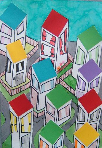 plak een aantal gekleurde vierkantjes op je papier, dit zijn de daken van de huizen. Teken de rest met zwarte stift en kleur in.