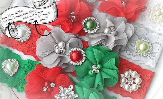 Red GarterHoliday by TheTossedBouquet on Etsy