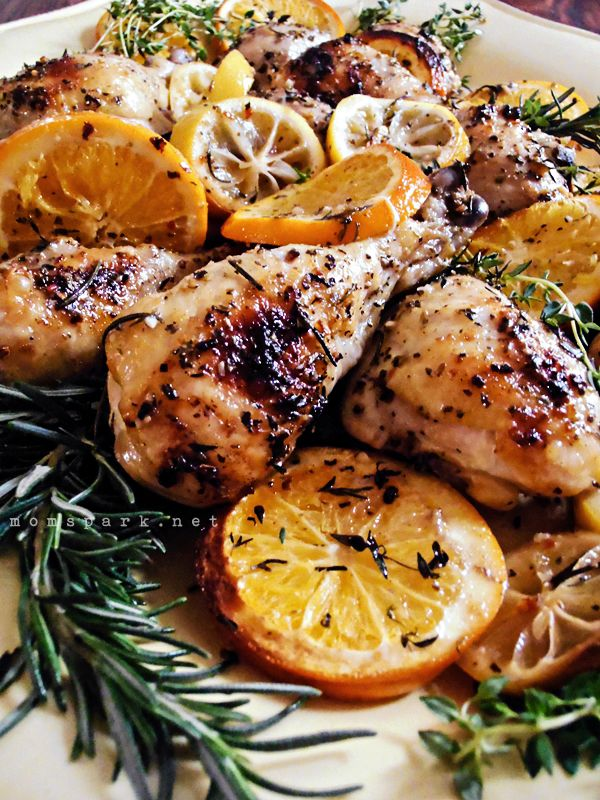 Herb and Citrus Oven Roasted Chicken ~ The best Herb/Citrus Chicken I have found on Pinterest! You will need olive oil, garlic gloves, sugar, lemons, oranges, Italian seasoning, paprika, onion powder, crushed red pepper flakes, S&P, bone-in chicken, onion, dried or fresh thyme & rosemary.  By momspark.net