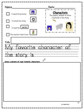 Story Element Posters and Worksheets for Kindergarten Revised--$5.00 packet, I like this page, it would be great for centers.