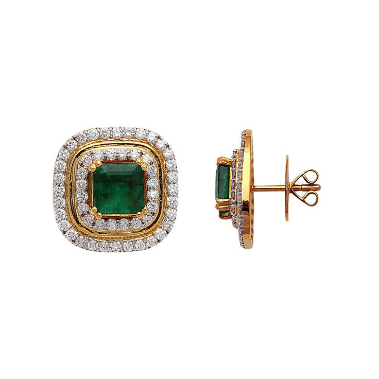 Diamond and emerald earring by Anmol Jewellers. Buy online at Velvetcase.com