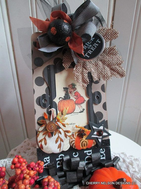 halloween tag-handmade halloween sign plaque decoration ADORABLE ...