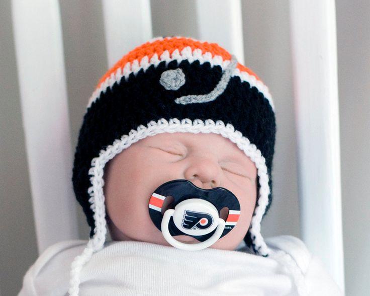 BABY HOCKEY HAT Philadelphia Flyers pacifier not included, Crochet Baby Hockey, Baby Hockey Boy Hat, Hockey Baby Knit Hat, Hockey Baby Gift by Grandmabilt on Etsy