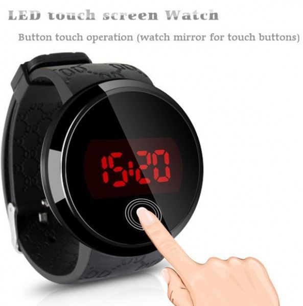 Men Women Touch Screen Circular Pattern Day Date Display Silicone Sport LED Wris #Unbranded #Sport