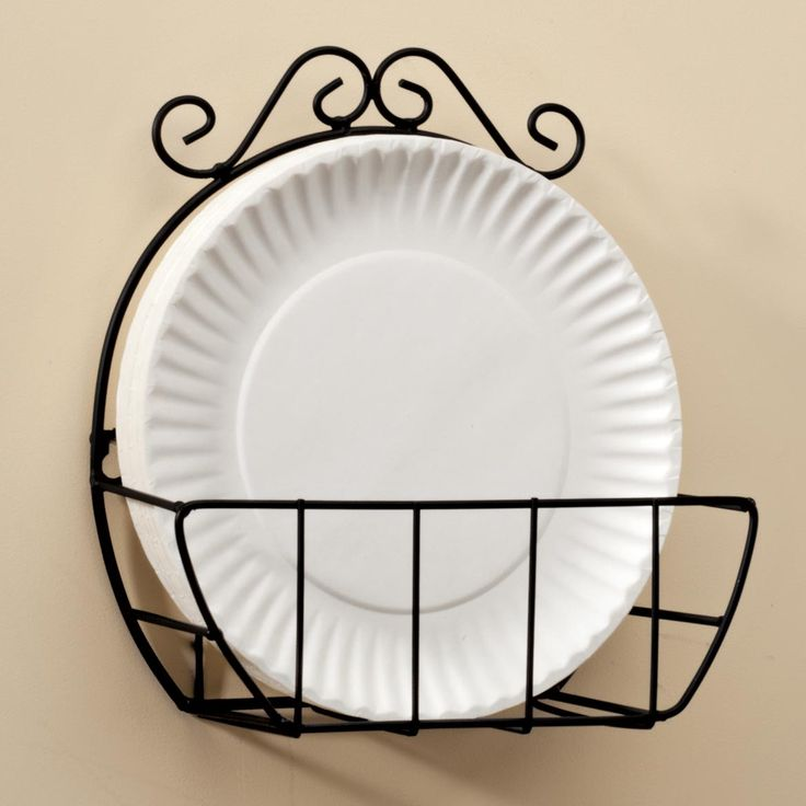 Miles Kimball wire paper plate holder lends style and convenience to you kitchen. Keeps paper plates organized and easily accessible.