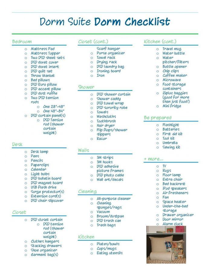 College Dorm Room Checklist For Guys Dorm Suite Dorm Apartment Checklist Future Apartme Dorm Checklist College Dorm Checklist Dorm Room Checklist