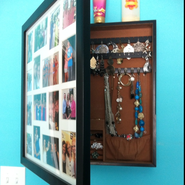 My picture frame jewelry box that hangs on the wall and closes to