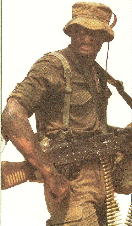 SADF gunner with a belgian Mag LMG.
