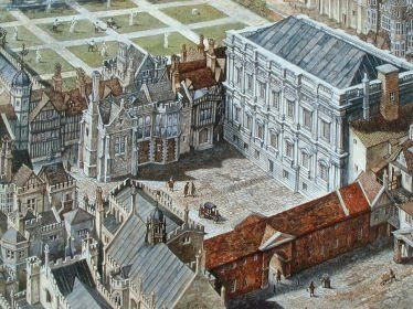 Detail from Whitehall Palace showing the Banqueting House- In 1530, King Henry VIII acquired York Palace from Cardinal Thomas Wolsey. Henry renamed it Whitehall Palace. The Palace replaced Westminster Palace as Henry's main London residence. In 1533, Henry married Anne secretly at the palace, and in 1536 married Jane Seymour. He died at the palace in January 1547. Much of the Tudor portion of the building was destroyed by fire in 1691.