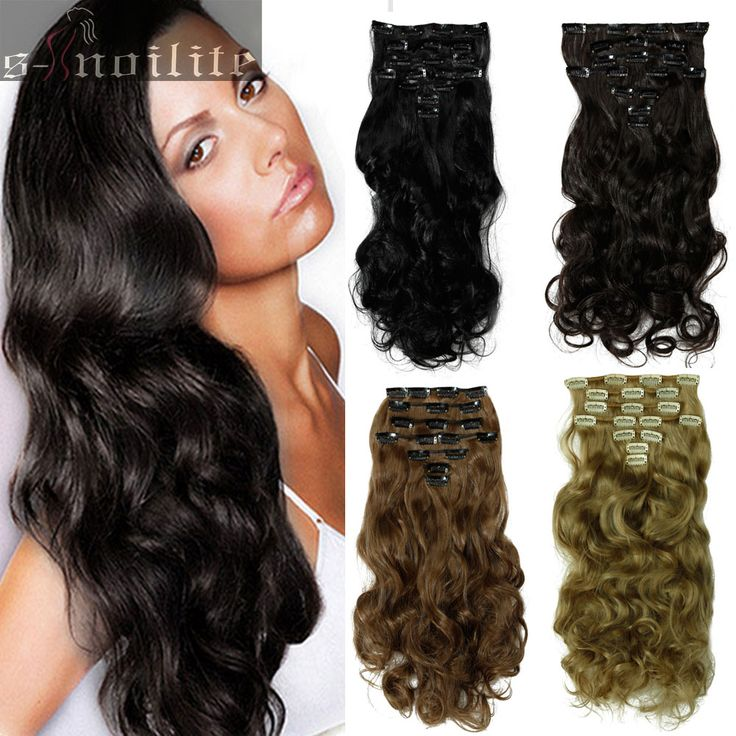 24inches 60CM Real Thick Clip In Hair Extensions Long Curly/Wavy Full Head Hair Extentions Highlight 100% Natural Hairpiece