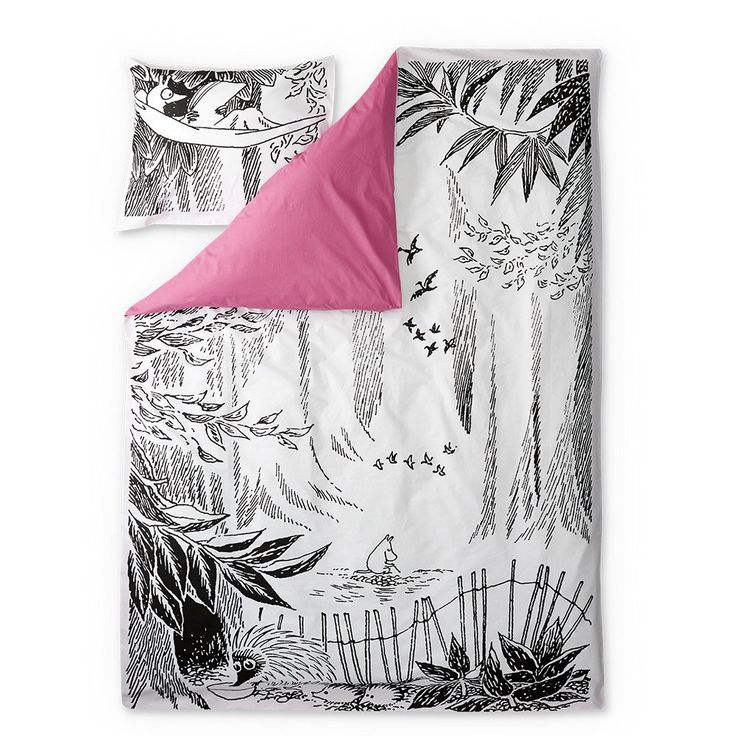 Stylish duvet covers with an image from Tove Jansson's book Moominpappa's Memoirs. Beautiful details make this bed linen set a truly great addition to your bedroom. The Finlayson fabric is 100% cotton.Size: Duvet cover 150 x 210 cm
