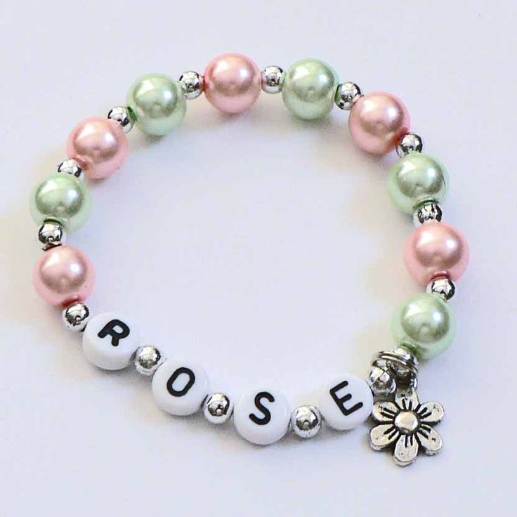 Flower Charm Bracelet Pink & Green Personalized Name