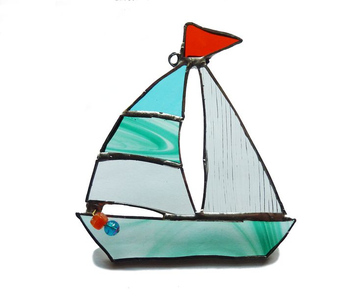 STAINED GLASS BOAT - Glass Yacht - Scotland Art - Sail Boat Art by EynhallowDesign on Etsy