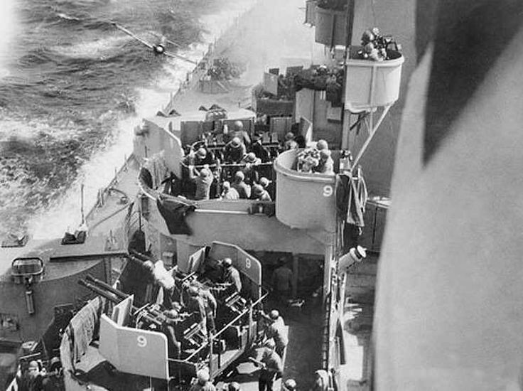 A Mitsubishi A6M Zero on a suicidal Kamikaze mission just shortly before it hit it's intended target, the USS Missouri (BB-63) battleship on April 11th 1945.