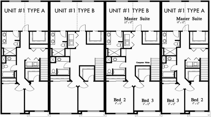 Fourplex Plans 4 Plex Plans Townhouse F 550 Triplex