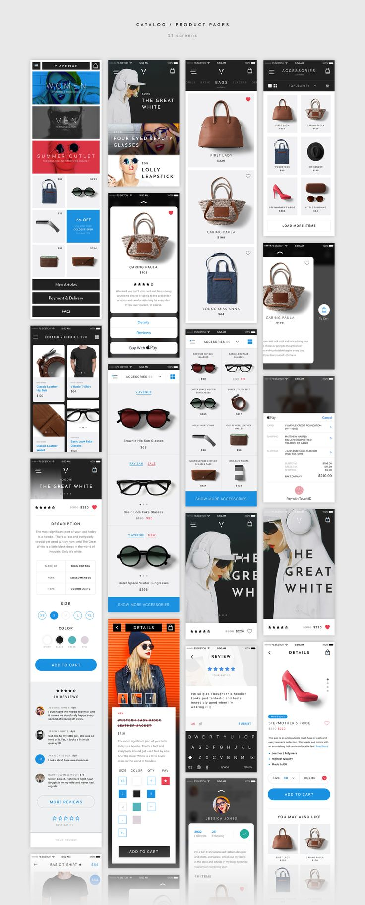 We're happy to introduce you V Avenue , an advanced mobile UI Kit for Sketch & Photoshop with a strong focus on e-commerce. These 100 mobile app templates of the highest quality with a ultra clean and sharp look can become your most useful tool for mobile app design. We abandoned all boring solutions and font combinations choices to develop a unique and vivid style, and today we're happy to offer you the result of our efforts.