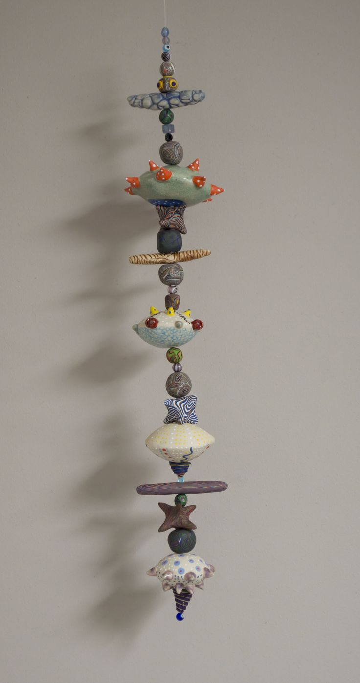 Hanging Totem By One Blue Marble Ceramic Art By One