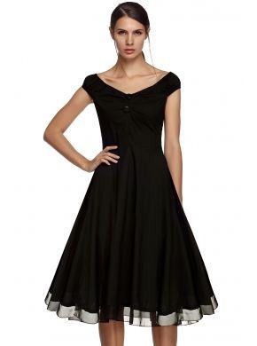 Angvns Siyah Şık Bayanlar Bayan Dot Baskı Kolsuz Boyun Yüksek Bel A-Line Big Hem Midi Casual Parti Elbiseleri